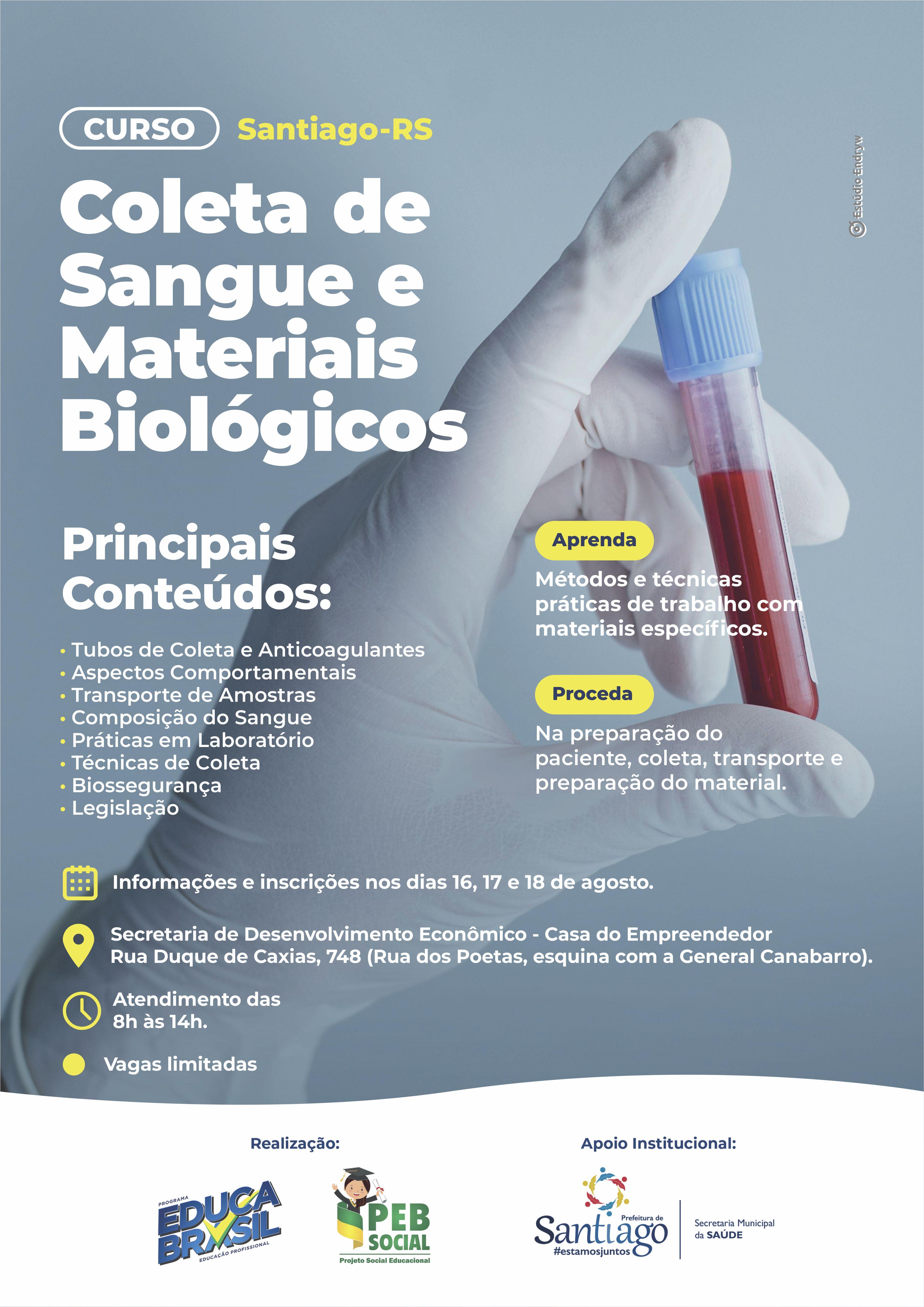 Curso de Coleta de Sangue e Materiais Biológicos   Santiago/RS